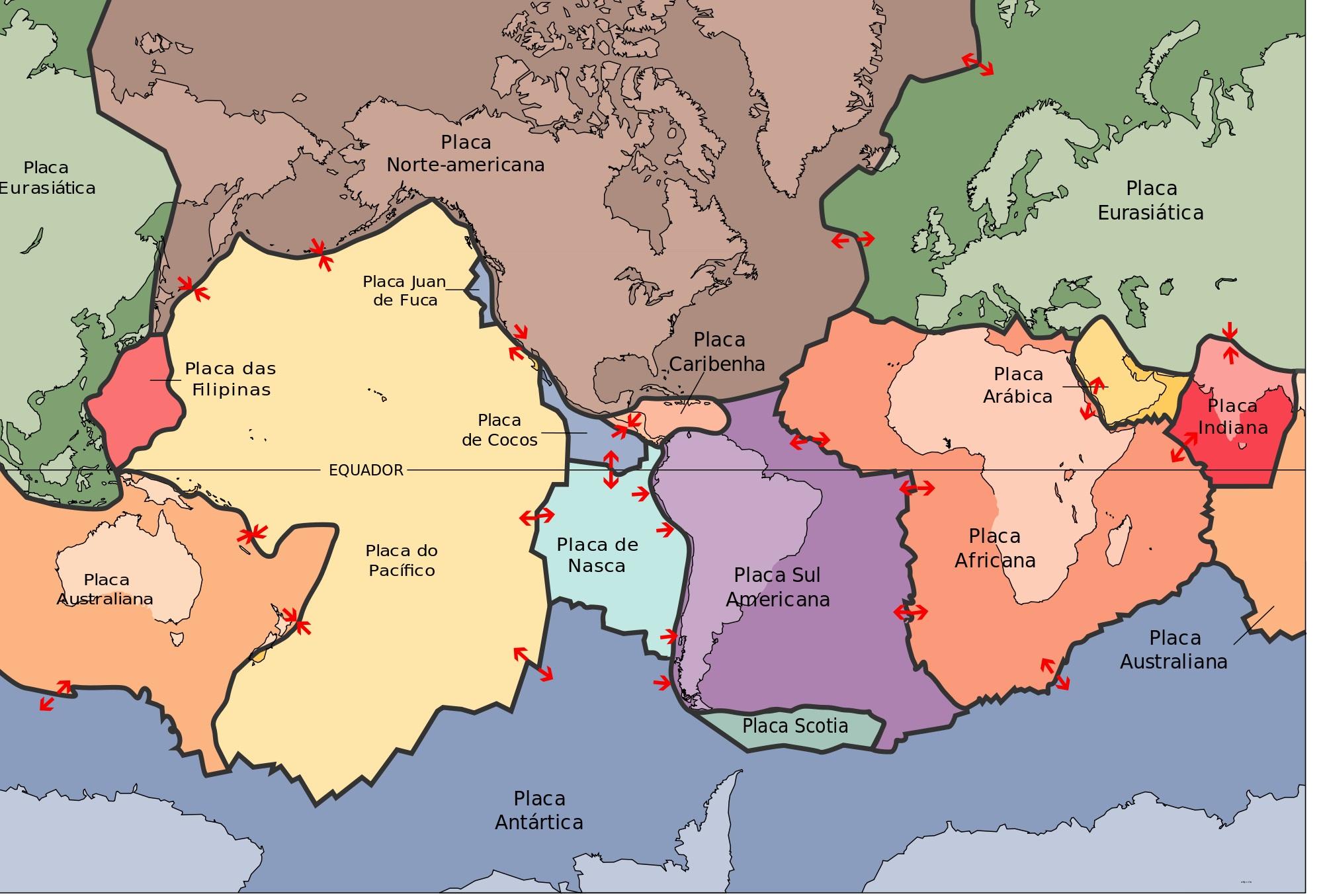 Placas tectônicas no globo terrestre