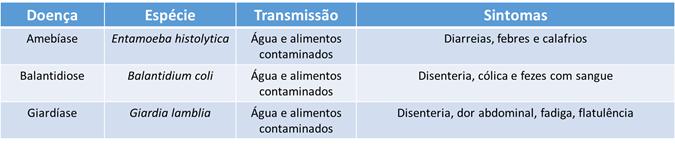 Protozooses transmitidas por água e alimentos contaminados: amebíase, balantidiose e giardíase