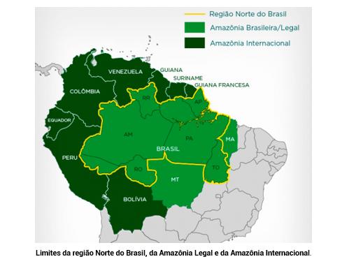 Limites da região Norte do Brasil, da Amazônia Legal e da Amazônia Internacional.