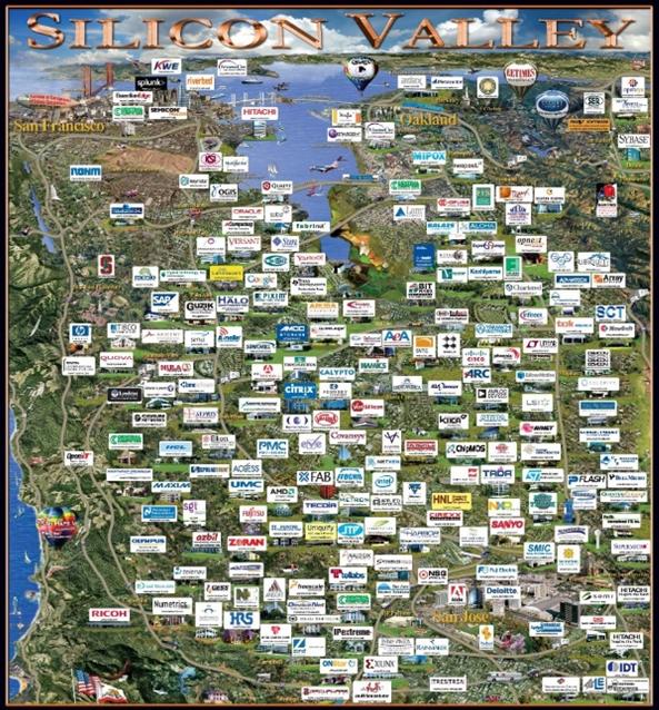 Tecnopólo mais conhecido do mundo e suas empresas – Vale do Sílicio, Califórnia.