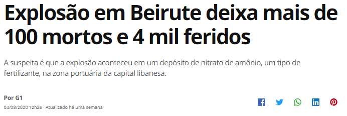 Disponível em: https://g1.globo.com/mundo/noticia/2020/08/04/explosao-em-beirute.ghtml