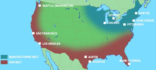 Regionalização dos Estados Unidos - Manufacturing e Sun Belt.