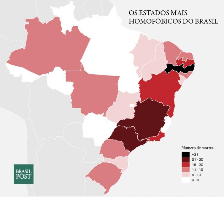 Mapa dos estados brasileiros que mais houveram mortes por homofobia em 2013. Destaca-se Pernambuco, com 34 homicídios, São Paulo, com 29 homicídios e Minas Gerais, com 25 homicídios. Disponível em: https://www.geledes.org.br/os-10-estados-mais-perigosos-para-ser-gay-no-brasil/