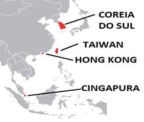 Mapa da localização dos Tigres Asiáticos